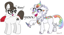 Size: 4552x2504 | Tagged: safe, artist:romulus4444, character:raven inkwell, oc, oc:cloudy canvas, species:kirin, species:pony, species:unicorn, g4, annoyed, art challenge, cutie mark, duo, duo female, female, manechat, manechat challenge, mare, playful, shenanigans, simple background, standing, transparent background, yoink