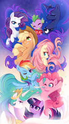 Size: 1024x1848   Tagged: safe, artist:jumblehorse, character:applejack, character:fluttershy, character:pinkie pie, character:princess celestia, character:princess luna, character:rainbow dash, character:rarity, character:spike, character:twilight sparkle, species:alicorn, species:dragon, species:earth pony, species:pegasus, species:pony, species:unicorn, g4, confetti, fire ruby, gem, gradient background, mane six, party horn, profile, ruby, spread wings, three quarter view, wings