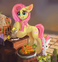 Size: 1280x1370   Tagged: safe, artist:aristocatdraws, character:angel bunny, character:fluttershy, species:pegasus, species:pony, species:rabbit, g4, abacus, angel is a bunny bastard, animal, barrel, bipedal, bits, carrot, cobblestone street, counter, crate, cropped, crossed arms, cute, daaaaaaaaaaaw, duo, feather, female, floppy ears, flower, folded wings, food, grin, looking at someone, mare, market, money bag, outdoors, pure unfiltered evil, quill, raised hoof, shopping, shyabetes, smiling, stray strand, three quarter view, vegetables, wings
