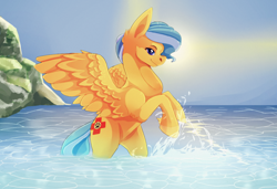 Size: 1194x818 | Tagged: safe, artist:kinvil, oc, oc:ocean shore, species:pegasus, species:pony, coat markings, commission, commissioner:northerndawn, eyes closed, female, ocean, pegasus oc, playing, rearing, socks (coat marking), splashing, wings, ych result