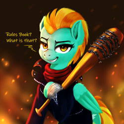 Size: 2000x2000   Tagged: safe, artist:darksly, character:lightning dust, species:pegasus, species:pony, newbie artist training grounds, atg 2021, bandage, baseball bat, clothing, cosplay, costume, crossover, female, grin, high res, jacket, leather jacket, looking at you, lucille, mare, negan, scarf, smiling, smiling at you, solo, talking, the walking dead, weapon