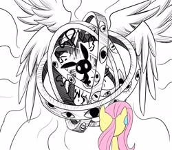 Size: 2300x2000   Tagged: safe, artist:ce2438, character:angel bunny, character:fluttershy, species:pegasus, species:pony, species:rabbit, g4, angelic bunny, animal, biblically accurate angels, duo, eye, eyes, female, floating, glowing eyes, high res, male, mare, ophanim, partial color, pun, runes, silhouette, simple background, sitting, spread wings, sweat, sweatdrop, visual gag, wat, white background, wings