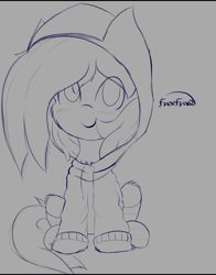 Size: 2350x3000   Tagged: safe, artist:freefraq, character:marble pie, species:earth pony, species:pony, blushing, clothing, cute, female, filly, high res, hoodie, looking at you, marblebetes, sitting, sketch, smiling, smiling at you, solo, young