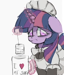 Size: 1358x1592 | Tagged: safe, artist:ponerino, character:twilight sparkle, character:twilight sparkle (unicorn), species:pony, species:unicorn, clothing, colored, drink, food, frown, glowing horn, horn, levitation, looking at you, magic, maid, maid headdress, maidlight sparkle, poison, sad, simple background, solo, tea, telekinesis, white background