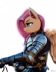 Size: 1600x2061 | Tagged: safe, artist:mrscroup, character:fluttershy, species:anthro, species:pegasus, g4, armor, digital art, female, knight, mare, profile, serious, serious face, signature, simple background, solo, white background