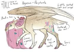 Size: 1200x864 | Tagged: safe, artist:tinymochadeer, character:fluttershy, species:deer, species:pegasus, species:peryton, species:pony, g4, alternate design, deer tail, genderqueer, hybrid, redesign, species:bird