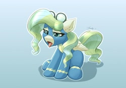 Size: 2008x1417   Tagged: safe, artist:dandy, character:vapor trail, species:pegasus, species:pony, newbie artist training grounds, g4, atg 2021, clothing, cute, female, folded wings, goggles, lidded eyes, mare, open mouth, simple background, solo, tired, tongue out, uniform, wings, wonderbolts, wonderbolts uniform