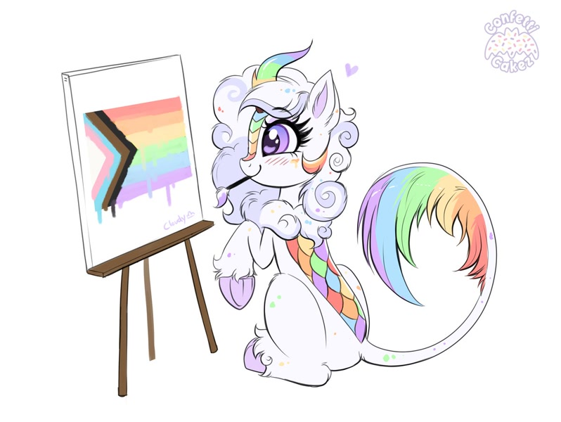 Size: 1200x902 | Tagged: safe, artist:confetticakez, oc, oc:cloudy canvas, species:kirin, newbie artist training grounds, cloudybetes, cute, easel, featured image, logo, paintbrush, painting, pride, pride flag, signature, simple background, solo, white background