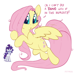 Size: 2048x2048 | Tagged: safe, artist:pfeffaroo, artist:pfeffarooart, character:fluttershy, character:rarity, species:pegasus, species:pony, species:unicorn, g4, crying, dialogue, duo, flying, hoof hold, messy mane, sad, simple background, solo focus, white background