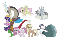 Size: 1050x707 | Tagged: safe, artist:spacekitty, character:applejack, character:discord, character:fluttershy, character:pinkamena diane pie, character:pinkie pie, character:rainbow dash, character:rarity, character:tom, character:twilight sparkle, character:twilight sparkle (unicorn), species:draconequus, species:earth pony, species:pegasus, species:pony, species:unicorn, g4, applejack's hat, boulder, clothing, cowboy hat, digital art, discorded, female, flutterbitch, greedity, hat, liar face, liarjack, license:cc-by-nc-nd, male, mare, rock, simple background, stetson, straight hair, transparent background, vector