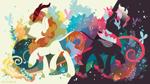 Size: 3840x2160 | Tagged: safe, artist:spacekitty, character:autumn blaze, species:kirin, g4, abstract background, cutie mark, digital art, female, fire, license:cc-by-nc-nd, nirik, silhouette, vector