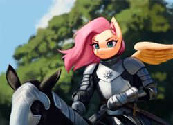 Size: 2000x1458 | Tagged: safe, artist:mrscroup, character:fluttershy, species:anthro, species:pegasus, g4, anthros riding horses, armor, cloud, convincing armor, horse, knight, riding, sky, sword, tree, weapon