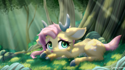Size: 3200x1800 | Tagged: safe, artist:symbianl, character:fluttershy, species:deer, species:pegasus, g4, antlers, cheek fluff, cloven hooves, crepuscular rays, cute, deerified, ear fluff, fluffy, flutterdeer, forest, high res, hooves, leg fluff, looking at you, lying down, prone, shyabetes, signature, solo, species swap, tree, underhoof