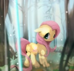 Size: 1200x1148 | Tagged: safe, artist:youhoujou, character:fluttershy, species:pegasus, species:pony, g4, forest, looking at you, looking back, looking back at you, solo, tree, wingless