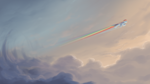 Size: 1920x1080 | Tagged: safe, artist:rocket-lawnchair, character:rainbow dash, species:pegasus, species:pony, cloud, cloudy, eyes closed, flying, profile, rainbow, rainbow trail, solo