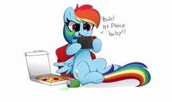 Size: 4096x2439 | Tagged: safe, artist:kittyrosie, species:pegasus, species:pony, backwards cutie mark, can, cutie mark, dialogue, drink, food, gamer dash, nintendo switch, open mouth, pizza, signature, simple background, sitting, soda, solo, that pony sure does love pizza, white background