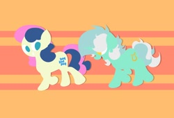 Size: 1200x818   Tagged: safe, artist:background basset, character:bon bon, character:lyra heartstrings, character:sweetie drops, species:pony, species:unicorn, ship:lyrabon, g4, abstract background, female, grin, happy, high res, lesbian, lineless, looking at each other, open mouth, open smile, orange background, running, shipping, simple background, smiling, smiling at each other