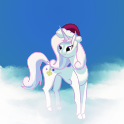Size: 4000x4000   Tagged: safe, artist:gangrene, character:fleur-de-lis, species:pony, species:unicorn, g4, christmas, clothing, female, hat, holiday, mare, santa hat, solo