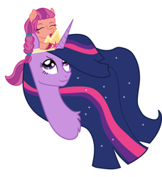 Size: 932x1024   Tagged: safe, artist:lemontea, derpibooru original, character:sunny starscout, character:twilight sparkle, character:twilight sparkle (alicorn), species:alicorn, species:earth pony, species:pony, episode:the last problem, g4, g5, my little pony: friendship is magic, braid, bust, crown, digital art, duo, ethereal mane, eyes closed, female, galaxy mane, jewelry, looking up, mare, older, older twilight, open mouth, portrait, princess twilight 2.0, regalia, simple background, sitting on head, smiling, unshorn fetlocks, vector