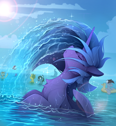 Size: 2100x2275   Tagged: safe, artist:yakovlev-vad, character:princess luna, species:alicorn, species:pony, g4, background pony, chest fluff, eyes closed, female, female focus, hair flip, high res, mane flip, mare, ocean, profile, s1 luna, solo focus, water, wet