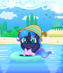 Size: 1862x2160   Tagged: safe, artist:spellboundcanvas, character:princess luna, species:alicorn, species:pony, newbie artist training grounds, g4, atg 2021, beach, bird, bush, clothing, cute, female, filly, filly luna, hat, high res, looking at you, lunabetes, ocean, one-piece swimsuit, open mouth, open smile, outdoors, seashell, smiling, smiling at you, solo, sun, swimsuit, tree, water, woona, young, younger