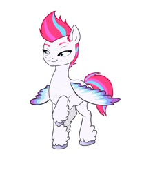 Size: 1002x1200 | Tagged: safe, artist:cvdske, character:zipp storm, species:pegasus, species:pony, g5, colored wingtips, female, mare, multicolored wings, raised hoof, simple background, smug, solo, spread wings, unshorn fetlocks, white background, wings