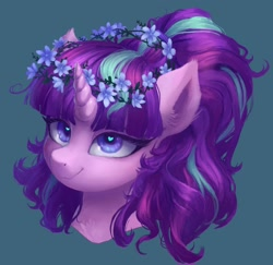 Size: 1480x1440 | Tagged: safe, alternate version, artist:orchidpony, character:starlight glimmer, species:pony, species:unicorn, bust, cute, ear fluff, floral head wreath, flower, glimmerbetes, heart eyes, portrait, redraw, smiling, solo, wingding eyes