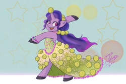 Size: 1200x800 | Tagged: safe, artist:shacysartothers, character:izzy moonbow, species:unicorn, g5, ball, bracelet, childproof horn, clothing, dress, gradient mane, horn, jewelry, solo, tennis ball, toy, unshorn fetlocks