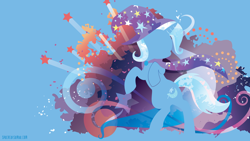 Size: 3840x2160 | Tagged: safe, artist:spacekitty, character:trixie, species:pony, species:unicorn, g4, abstract background, bipedal, cape, clothing, cutie mark, digital art, female, hat, license:cc-by-nc-nd, mare, rearing, silhouette, solo, trixie's cape, trixie's hat, vector, wizard hat