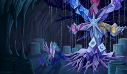 Size: 2000x1165 | Tagged: safe, artist:spacekitty, character:princess celestia, character:princess luna, species:alicorn, species:pony, g4, cave, cutie mark, digital art, duo, duo female, ethereal mane, female, females only, galaxy mane, mare, photoshop, spread wings, tree of harmony, wings