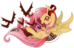 Size: 1381x897 | Tagged: safe, artist:spacekitty, character:flutterbat, character:fluttershy, species:bat pony, species:pony, g4, apple, cutie mark, female, food, headphones, license:cc-by-nc-nd, looking at you, mare, open mouth, simple background, solo, spread wings, tail, transparent background, wings