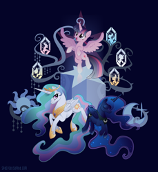 Size: 2000x2185 | Tagged: safe, alternate version, artist:spacekitty, character:princess celestia, character:princess luna, character:twilight sparkle, character:twilight sparkle (alicorn), species:alicorn, species:pony, g4, license:cc-by-nc-nd, bipedal, cutie mark, digital art, ethereal mane, female, females only, galaxy mane, mare, open mouth, rearing, royal sisters, siblings, sisters, smiling, spread wings, tree of harmony, trio, vector, wings