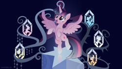 Size: 1920x1080 | Tagged: safe, alternate version, artist:spacekitty, character:twilight sparkle, character:twilight sparkle (alicorn), species:alicorn, species:pony, g4, license:cc-by-nc-nd, bipedal, cutie mark, digital art, ethereal mane, female, galaxy mane, mare, open mouth, rearing, smiling, solo, spread wings, tree of harmony, vector, wings