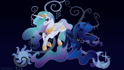 Size: 1920x1080 | Tagged: safe, alternate version, artist:spacekitty, character:princess celestia, character:princess luna, species:alicorn, species:pony, g4, license:cc-by-nc-nd, cutie mark, digital art, duo, duo female, ethereal mane, female, females only, folded wings, galaxy mane, royal sisters, siblings, sisters, tree of harmony, vector, wings