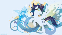 Size: 3840x2160 | Tagged: safe, artist:spacekitty, character:soarin', species:pegasus, species:pony, g4, license:cc-by-nc-nd, abstract background, cutie mark, digital art, goggles, looking back, male, open mouth, silhouette, smiling, solo, spread wings, stallion, vector, wings