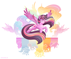 Size: 2000x1663 | Tagged: safe, artist:spacekitty, character:applejack, character:fluttershy, character:pinkie pie, character:princess cadance, character:princess celestia, character:princess luna, character:rainbow dash, character:rarity, character:spike, character:twilight sparkle, character:twilight sparkle (alicorn), species:alicorn, species:dragon, species:earth pony, species:pegasus, species:pony, species:unicorn, g4, license:cc-by-nc-nd, abstract background, cutie mark, digital art, female, horn, male, mare, rainbow power, silhouette, simple background, spread wings, vector, white background, wings