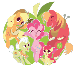 Size: 1500x1337 | Tagged: safe, artist:spacekitty, character:apple bloom, character:applejack, character:big mcintosh, character:granny smith, character:pinkie pie, species:earth pony, species:pony, episode:pinkie apple pie, g4, my little pony: friendship is magic, apple bloom's bow, apple family member, applejack's hat, banjo, big macintosh's yoke, bow, brother and sister, clothing, cowboy hat, female, grandmother and granddaughter, grandmother and grandson, hair bow, hat, male, mare, neckerchief, open mouth, siblings, simple background, sisters, smiling, stallion, stetson, transparent background