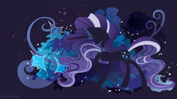 Size: 3840x2160 | Tagged: safe, artist:spacekitty, idw, character:nightmare rarity, character:rarity, species:pony, species:unicorn, g4, license:cc-by-nc-nd, abstract background, cutie mark, digital art, female, mare, silhouette, solo, vector