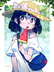 Size: 2400x3200 | Tagged: safe, artist:nendo, character:twilight sparkle, species:human, bag, blushing, bow, breasts, clothing, cute, cutie mark accessory, food, hat, humanized, ice cream, leaves, melting, open mouth, short hair, solo, species swap, sweat, sweatdrops, tongue out, twiabetes, watermelon