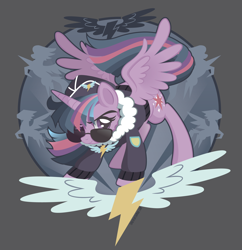 Size: 2000x2064 | Tagged: safe, artist:spacekitty, character:twilight sparkle, character:twilight sparkle (alicorn), species:alicorn, species:pony, g4, license:cc-by-nc-nd, aviator glasses, clothing, commander easy glider, cutie mark, digital art, gray background, jacket, looking at you, simple background, solo, spread wings, sunglasses, vector, wings