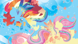 Size: 3840x2160 | Tagged: safe, artist:spacekitty, character:fluttershy, character:rainbow dash, species:pegasus, species:pony, g4, license:cc-by-nc-nd, abstract background, cutie mark, digital art, duo, duo female, female, females only, mare, rainbow power, silhouette, spread wings, vector, wings