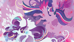 Size: 3840x2160 | Tagged: safe, artist:spacekitty, character:rarity, character:twilight sparkle, character:twilight sparkle (alicorn), species:alicorn, species:pony, species:unicorn, g4, license:cc-by-nc-nd, abstract background, cutie mark, duo, duo female, female, females only, mare, rainbow power, silhouette, spread wings, wings