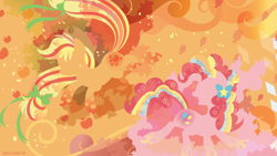 Size: 3840x2160 | Tagged: safe, artist:spacekitty, character:applejack, character:pinkie pie, species:earth pony, species:pony, g4, license:cc-by-nc-nd, abstract background, applejack's hat, clothing, cowboy hat, cutie mark, digital art, duo, duo female, female, females only, hat, mare, open mouth, ponytail, rainbow power, silhouette, stetson, vector