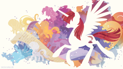 Size: 3840x2160 | Tagged: safe, artist:spacekitty, oc, oc only, oc:fausticorn, species:alicorn, species:pony, g4, license:cc-by-nc-nd, abstract background, cutie mark, digital art, female, mare, silhouette, solo, spread wings, vector, wings