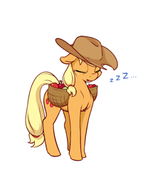 Size: 918x1090 | Tagged: safe, artist:aquaticvibes, character:applejack, species:earth pony, species:pony, newbie artist training grounds, g4, atg 2021, cute, drool, eyes closed, floppy ears, horses doing horse things, jackabetes, onomatopoeia, silly, silly pony, simple background, sleeping, sleeping while standing, solo, sound effects, white background, who's a silly pony, zzz