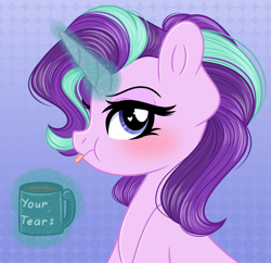 Size: 2929x2836 | Tagged: safe, artist:emberslament, character:starlight glimmer, species:pony, species:unicorn, abstract background, blushing, coffee, cute, drink, female, glowing horn, gradient background, grumpy, heart eyes, high res, horn, levitation, looking at you, magic, mare, mug, profile, puffy cheeks, simple background, solo, telekinesis, tongue out, wingding eyes