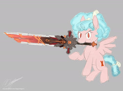 Size: 1920x1427   Tagged: safe, artist:mycaro, character:cozy glow, species:pegasus, species:pony, newbie artist training grounds, g4, atg 2021, bow, crossover, female, filly, flying, genshin impact, holding, looking at you, mouth hold, raised hoof, signature, simple background, solo, spread wings, sword, weapon, wings, xk-class end-of-the-world scenario, young
