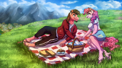 Size: 1920x1080   Tagged: safe, artist:lupiarts, character:pinkie pie, oc, oc:ace play, species:anthro, species:unguligrade anthro, basket, canon x oc, clothing, commission, couple, digital art, female, food, holding hands, looking at each other, love, male, mountain, picnic, picnic basket, picnic blanket, pinkieplay, ponyville, profile, romance, romantic, sandwich, scenery, shipping, skirt, sky, straight, unshorn fetlocks