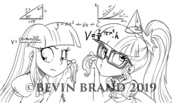 Size: 1280x768   Tagged: safe, artist:bevin brand, character:twilight sparkle, character:twilight sparkle (alicorn), character:twilight sparkle (scitwi), species:eqg human, g4, my little pony:equestria girls, commission, comparison, math, obtrusive watermark, official fan art, watermark