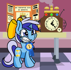 Size: 1920x1900   Tagged: safe, artist:dinkyuniverse, character:minuette, species:pony, species:unicorn, newbie artist training grounds, adorkable, atg 2021, bow, braces, clock, cute, dork, female, filly, filly minuette, grin, hair bow, invention, minubetes, science fair, smiling, solo, young, younger
